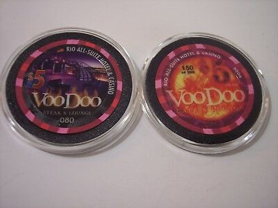 2 Different $5 Rio Las Vegas Casino Chips VooDoo Lounge  Limited Editions  Unc