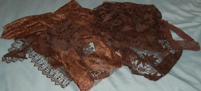 Antique Fabric Remnants Lace Chestnut Brown Restoration Art Deco c1930s
