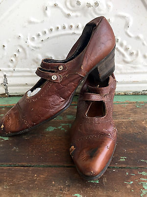 Antique Victorian Pearl Shell Button Strap Shoes Brown Leather Heels