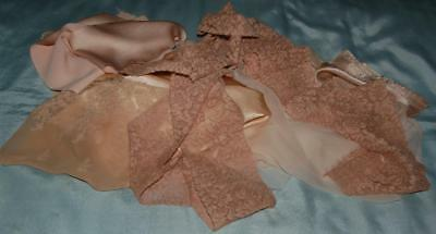 Antique Fabric Scraps Chiffon Slipper Satin Lace Insertion Restoration c1920-30s