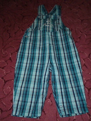 Next Baby Boys blue & green 100% cotton Dungarees 12-18 Months