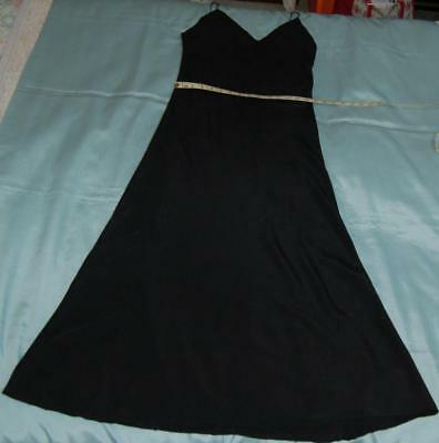 Vintage Antique Underslip from Full Length Dress Black Crepe de Chine c1930s