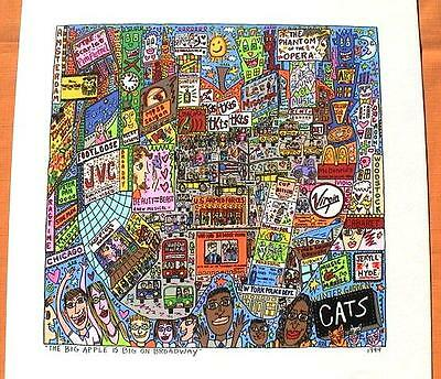 Farblithographie James Rizzi 1999 : 2D The big apple is big on broadway
