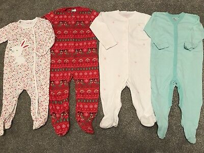 Girls 9-12 Months Sleepsuits. Immaculate.