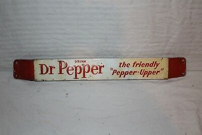 "Vintage 1950's Dr Pepper Soda Pop Gas Station 27"" Embossed Metal Door Push Sign"