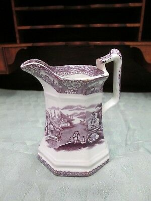 Q97) 19th c. Early Purple Transferware Pitcher