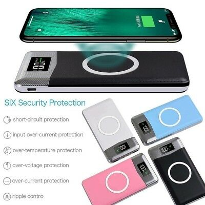 14400mAh Power Bank Qi Wireless Charging 2USB LCD LED Portable Battery Charger