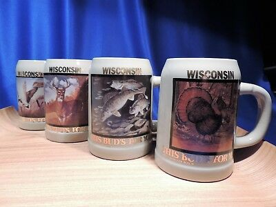 Budweiser (4 In A Series) 1990 Wisconsin 'this Bud's For You' Steins/mugs