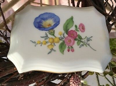 Meissen Porcelain Small Covered Match Box in Floral and Gold
