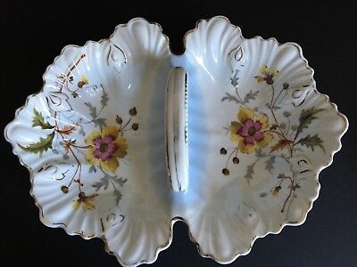 Vintage Hand Painted Two Sided Decorative Dish with Handle Made in Germany