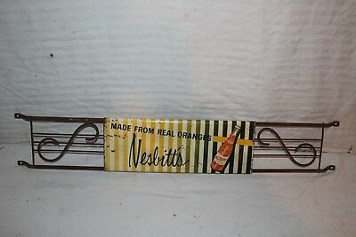 "Vintage 1958 Nesbitt's Orange Soda Pop Gas Station 32"" Metal Door Push Sign"