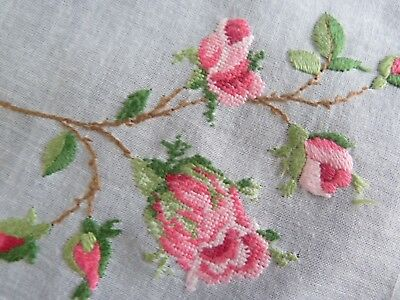 "Vintage Hand Embroidered Hankie Handkerchief Petite Point ROSES 12"" square"