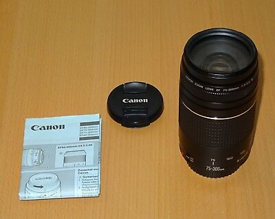 Canon EF 75-300mm f/4-5.6 III Lens with manuals