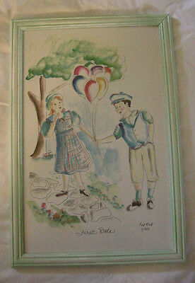 """Nursery Picture, """"First Date"""" By Fat Rat, Print, 1 out of 300, Signed, Brand New"""