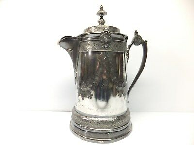 Antique Silverplate WATER PITCHER W/ PORCELAIN LINER REED & BARTON