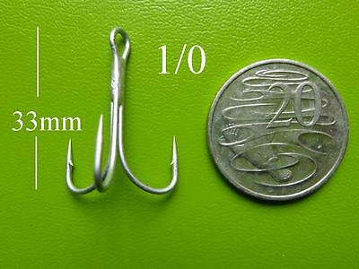 100x DFS size 1/0 TREBLE Fishing Hooks PERMA STEEL extreme rust prevention