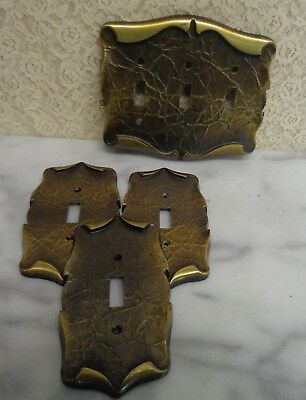 Vintage Amerock Carriage House 3 Outlet 1 Triple Light Switch Cover Plate