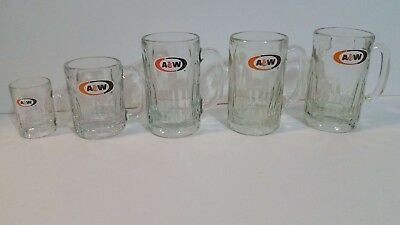 LOT OF 5 Vintage A&W Root Beer Mugs, 3 sizes: 4, 8, and 12oz.