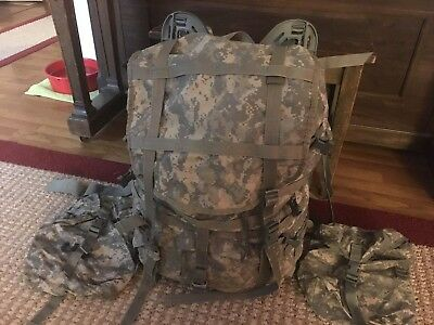 US Army MOLLE II ACU Camo Rucksack with Frame, Shoulder Straps, and Waist Belt