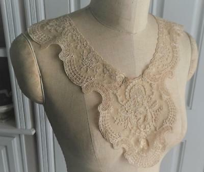 Antique Handmade Nude Bobbin Lace Large Collar