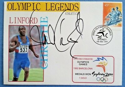 Olympic Legend Athletics LINFORD CHRISTIE Signed FDC 2000 Sydney Olympic Games