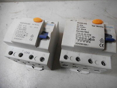 AUSTRALEC RCD's -- Quantity of 2 -- 4 POLE (3Ph and NEUTRAL) 40 amp -- 30mA