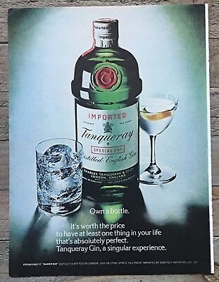1979 Tanqueray Distilled English Gin Bottle & Glasses Own A Bottle Vtg Print Ad
