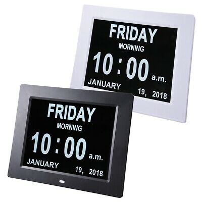 "8"" Large Digital LED Day Clock 6-Alarm Time Week Date Calendar Dementia Display"