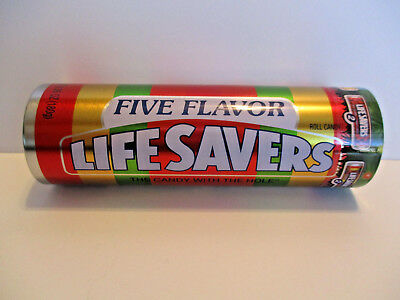 """7"""" Five Flavor Life Savers 6 Roll  Collector's Assortment round Tin Full New"""