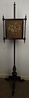Antique Regency Rosewood Tapestry Pole Screen Needlework Fire Screen