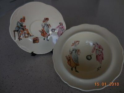 ANTIQUE BABY PLATES, ROYAL DOULTON 1930's NURSERY RHYME THEME