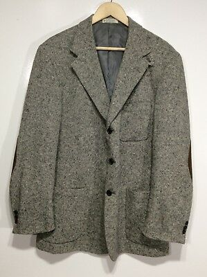 Orvis Tweed 3 Button Leather Elbow Patches Wool Mens 44l Sport Coat