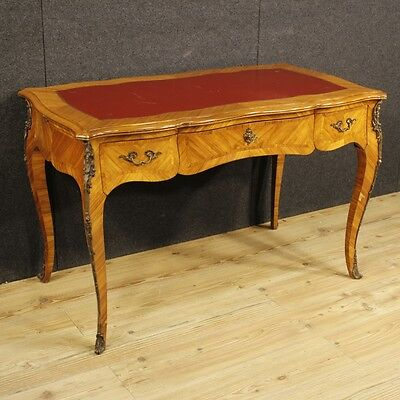 Writing desk table wood furniture antique style louis XV bronzes vintage cabinet