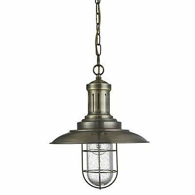 Searchlight FISHERMAN CAGED PENDANT ANTIQUE BRASS, SEEDED GLASS 5401AB