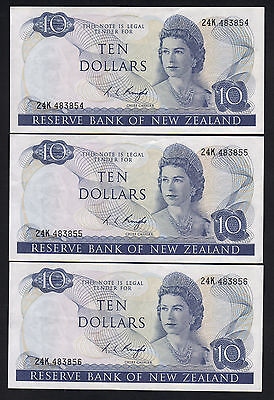 New Zealand P-166c (1975-77) $10- Knight.. Prefix 24K.. CONSEC Trio.. gEF-aUNC