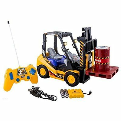 RC Forklift 6 Channel Electric Toy w/ Lights Pallet and Barrel Pretend Play NEW