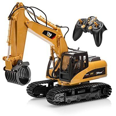 RC Excavator 15 Channel Construction Toy Grapple Full Functional with Metal Fork