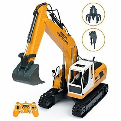 RC Excavator 17Ch Metal Shovel Metal Construction Tractor w/ Drill and Grasp NEW
