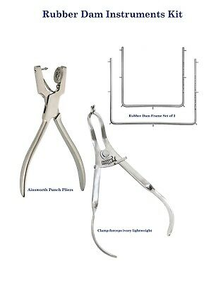 Dental Rubber Dam instruments Ainsworth Frame Ivory lightweight Claamps Forceps