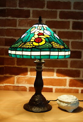 "12"" Flower and Falling Leaf Tiffany Stained Glass Bedside Lamp"