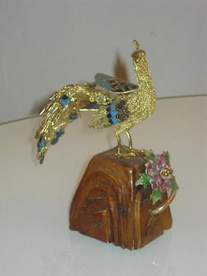 Stunning Chinese Cloisonne Peacock Figure