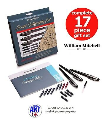 William Mitchell Complete 3 Pen Script Calligraphy 17-piece Gift Set italic hand