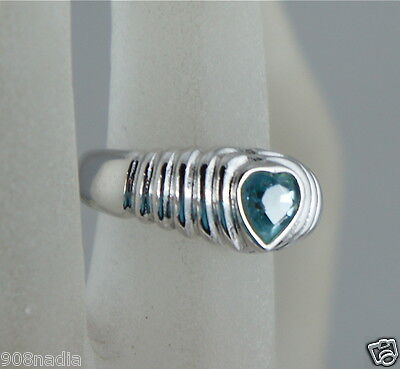 Vintage 18K Gold Plated Ring,heart Cut Blue Topaz,ribbed Band Size 9