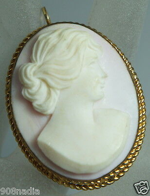 Vintage Victorian Gold Filled Brooch/pendant Bisque Pink Carved Cameo Shell