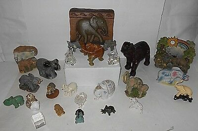 25 pc COLLECTABLE ELEPHANT LOT , CRYSTAL ,GLASS , PLASTIC, LENOX ETC .