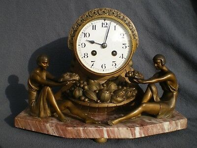 horloge pendule sculpture art deco LIMOUSIN femme antique clock statue woman