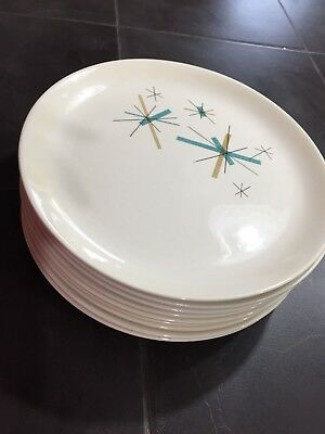 "Vintage 9 NORTH STAR  Dinner Plates by Salem. Abt 10"" Mid-Century, Atomic, 1950s"