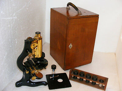 """WATSON  """"BACTIL""""  MICROSCOPE  WITH TWO  REMOVABLE  STAGES  & ACCESSORIES, c.1934"""