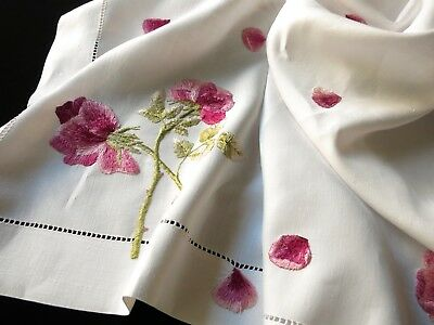 """ROSES & FALLING PETALS Antique Silk Society Hand Embroidery Linen Tablecloth 35"""""""