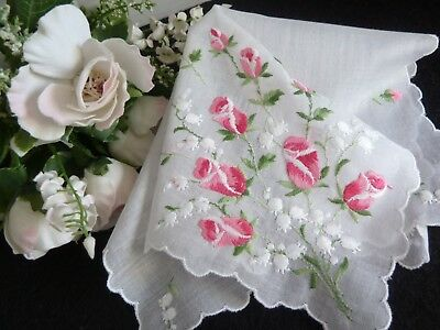 Vintage Embroidered Hankie Handkerchief ROSE BUDS & LILY OF THE VALLEY